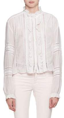 Etoile Isabel Marant Valda Long-Sleeve Lace Cotton Blouse with Ruffled Trim