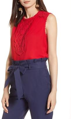 Halogen Lace Detail Stretch Crepe Tank Top