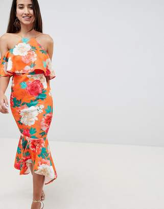 Asos Design DESIGN Floral Ruffle Cold Shoulder Asymmetric Pephem Midi Dress