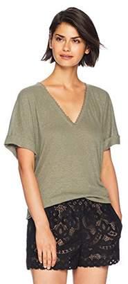 BCBGMAXAZRIA Women's V-Neck T-Shirt with Lace Trim