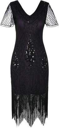 PrettyGuide Women's Flapper Dress Bead Sequin Fringed Gatsby Dress With Sleeve M