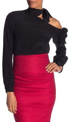 Nicole Miller One-Shoulder Solid Silk Blouse