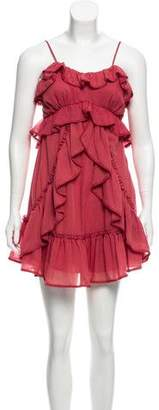 Red Carter Ruffled Crochet-Trimmed Dress w/ Tags