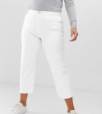 Asos DESIGN Curve Florence authentic straight leg jeans in bone chalky white