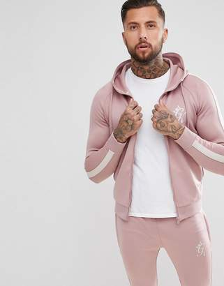 Gym King muscle poly track hoodie in pink with side stripe