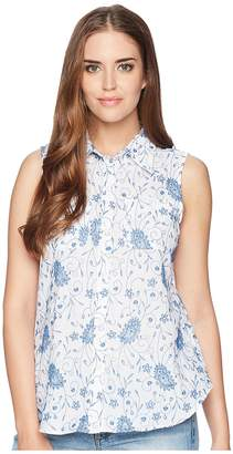 Chaps Floral-Embroidered Sleeveless Shirt Women's Sleeveless
