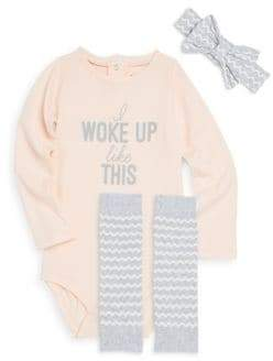 Petit Lem Baby Girl's Three-Piece Woke Up Like This Bodysuit, Printed Socks and Bow Headband Set