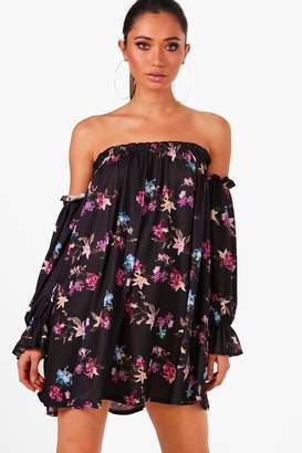 boohoo Off Shoulder Balloon Sleeve Swing Dress