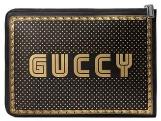 Gucci Guccy Logo Moon & Stars Leather Clutch