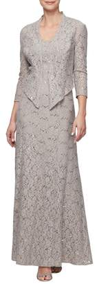 Alex Evenings Sequin Lace Gown with Jacket