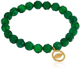 Satya Jewelry 8mm White Jade Gold Ganesha Stretch Bracelet