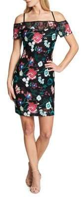 GUESS Floral Embroidered Sheath Dress