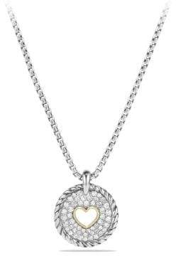 David Yurman Petite Pave Heart Charm Necklace With Diamonds With 18K