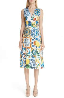Dolce & Gabbana Tile Print Brocade Dress