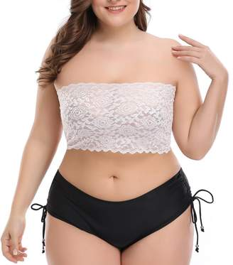 5f5eaef78f5ce CENG MAU Women s Plus Size Floral Lace Unlined Stretchy Strapless Bandeau  Tube Tops See Through Bras