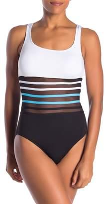 Nautica Mesh Stripe Waist One-Piece Swimsuit