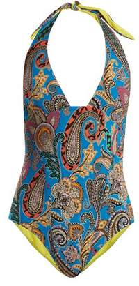 Etro Abstract Paisley Print Swimsuit - Womens - Blue Multi
