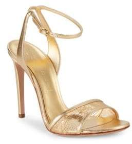Casadei Metallic Leather Ankle-Strap Sandals