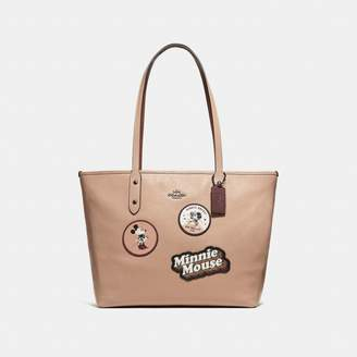 Coach Minnie Mouse City Zip Tote With Patches