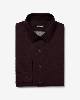 Express Slim Floral Pattern Cotton Dress Shirt