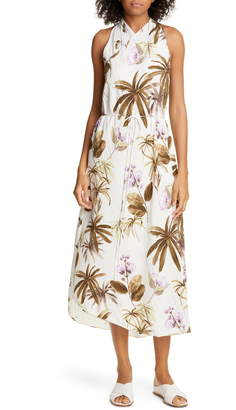 Vince Mixed Tropical Garden Asymmetrical Hem Midi Dress