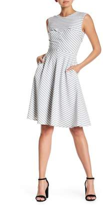 Alton Gray Striped Fit & Flare Dress