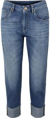 Brunello Cucinelli Bead-embellished Cropped Slim Boyfriend Jeans - Blue