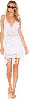 Indah Lorne Solid Crochet Mini Dress