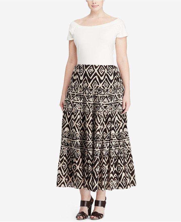 Lauren Ralph LaurenLauren Ralph Lauren Plus Size Geometric Cotton Maxiskirt