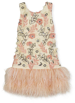 Zoe Molly Sleeveless Sequin Feather-Hem Shift Dress, White/Pink, Size 7-16 $310 thestylecure.com