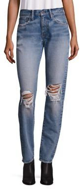 Levi's 505 Distressed Straight-Leg Jeans $98 thestylecure.com