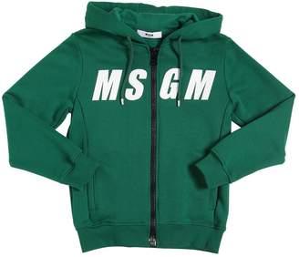 MSGM Logo Stripe Zip-Up Sweatshirt Hoodie