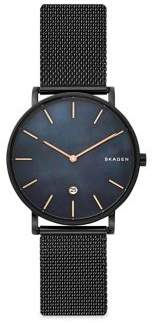 Skagen Hagen Mother-of-Pearl Black, Stainless Steel and Mesh Bracelet Watch