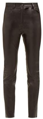 The Row Kate Stretch Leather High Rise Skinny Trousers - Womens - Black