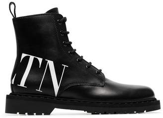 Valentino logo printed leather boots
