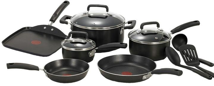 T-Fal T-Fal Signature Total Non-Stick 12-Piece Cookware Set Aluminum in Black