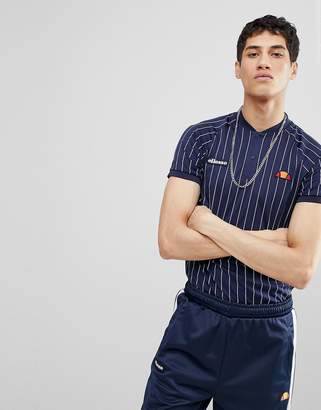 Ellesse Striped Polo In Navy