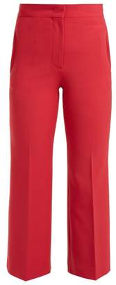 Fendi High Rise Stretch Wool Blend Trousers - Womens - Red