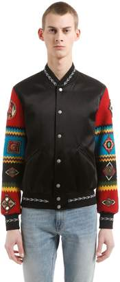 Saint Laurent Teddy Jacket W/ Embroidered Sleeves