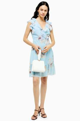 Womens **Floral Printed Dress By Lace & Beads - Blue