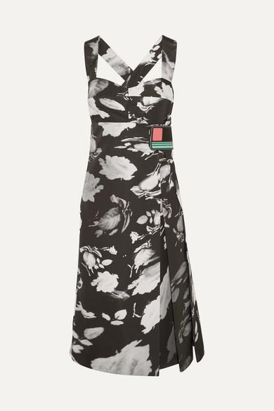 pradaPrada - Wrap-effect Printed Satin-twill Midi Dress - Black