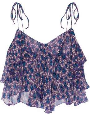 Anna Sui Cropped Ruffled Floral-Print Silk-Georgette Top