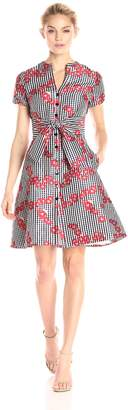 Adrianna Papell Women's Gingham and Floral Fla Shirt Dress