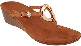 Vionic Orthotic Leather Thong Wedges - Orchid