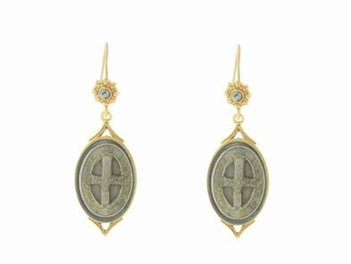 Virgins, Saints & Angels Vintage Collection: San Benito Betty Earrings in Gold | Black Diamond