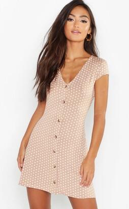 boohoo Petite Cap Sleeve Button Polka Dot Swing Dress