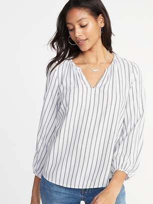 Old Navy Relaxed Split-Neck Shirred Blouse for Women