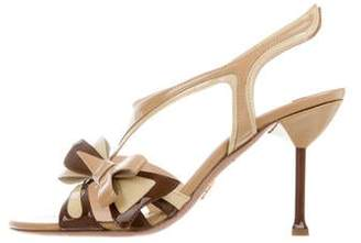 Prada Bow-Accented T-Strap Sandals