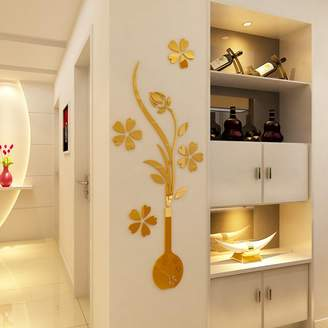 HEYING Mirror Flower Vase 3D Crystal Acrylic DIY Wall Stickers& Murals For Entranceway , Living Bedroom Dining Room Décor Home Decoration