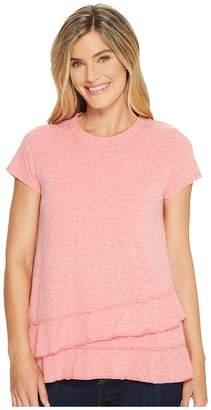 Mod-o-doc Marbled Jersey Asymmetrical Flounce Hem Tee Women's T Shirt